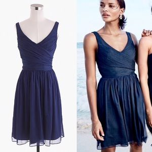 J. Crew Heidi Navy Silk Chiffon Bridesmaid Dress
